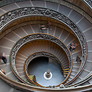 The famous spiral staircase inside the Vatican Museum.