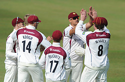 Rory Kleinveldt of Northamptonshire celebrates with team mates after catching out Chris Dent of Gloucestershire bowled by Olly Stone - Photo mandatory by-line: Dougie Allward/JMP - Mobile: 07966 386802 - 08/07/2015 - SPORT - Cricket - Cheltenham - Cheltenham College - LV=County Championship 2