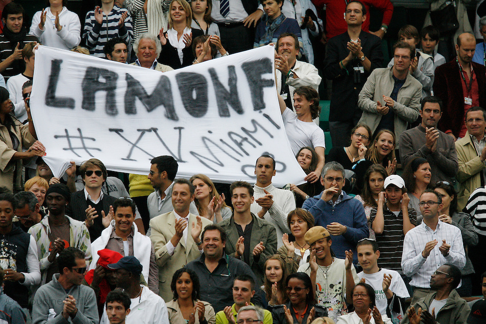 Roland Garros. Paris, France. June 4th 2008..Gael MONFILS's family and friends when he won his 1/4 Finals against David FERRER...