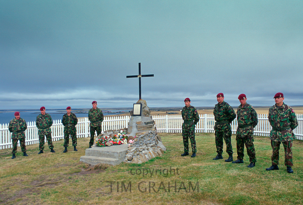 Soldiers of 2nd Battalion Parachute Regiment at 2 Para Memorial  at Goose Green, Falkland Islands