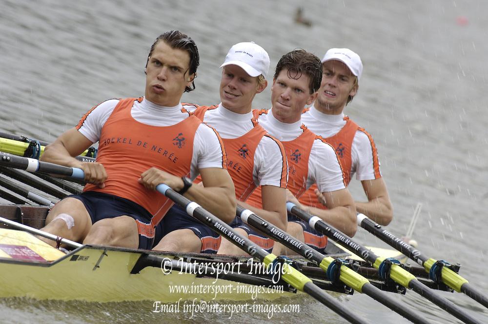 2006, FISA Juniors, Bosbaan, Amsterdam, THE NETHERLANDS, Friday 04.08.2006. NED JM4X, bow, Bob VAN VELSEN, 2. Willem SPROKHOLT, 3. Phillip VAN DE LINDE, stroke, Yorrick WILTON.  Peter Spurrier/Intersport Images, email images@intersport-images.com..[Mandatory Credit Peter Spurrier/ Intersport Images] Rowing Course: Bosbaan Rowing Course, Amsterdam, NETHERLANDS