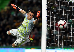 LISBON, Feb. 4, 2019  Goalkeeper Odysseas Vlachodimos of Benfica saves the ball during the Portuguese League soccer match between SL Benfica and Sporting CP in Lisbon, Portugal, Feb. 3, 2019. Benfica won 4-2. (Credit Image: © Xinhua via ZUMA Wire)