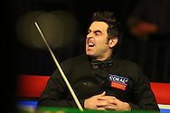 Ronnie O'Sullivan of England looks on during his 1st round match against Tom Ford of England. Coral Welsh Open Snooker 2017, day 2 at the Motorpoint Arena in Cardiff, South Wales on Tuesday 14th February 2017.<br /> pic by Andrew Orchard, Andrew Orchard sports photography.
