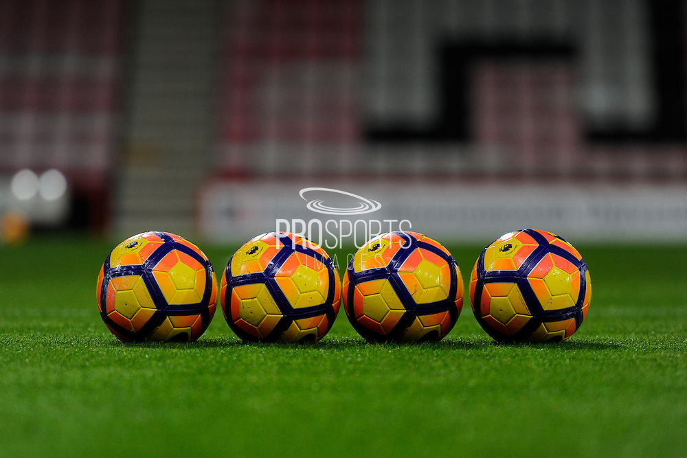 Premier League branded balls on the pitch before the Premier League match between Bournemouth and Arsenal at the Vitality Stadium, Bournemouth, England on 3 January 2017. Photo by Graham Hunt.