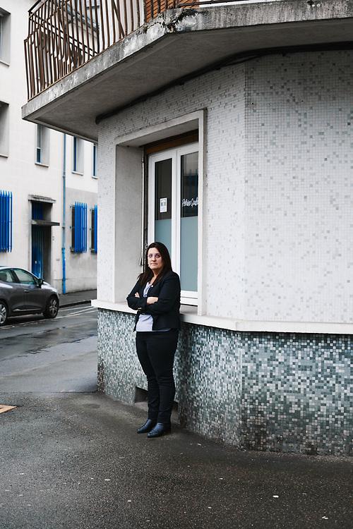 La deputee Perrine Goulet prenant la pose devant sa permanence. Nevers, France. 27 janvier 2020.
