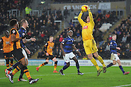 Bolton Wanderers goalkeeper Ben Amos takes ball from cross  during the Sky Bet Championship match between Hull City and Bolton Wanderers at the KC Stadium, Kingston upon Hull, England on 12 December 2015. Photo by Ian Lyall.