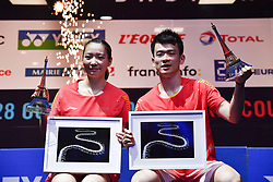 2018?10?28?.    ?????????——???????????????????????.    10?28???????????????????????.    ???????????????????????????????????????????????????2?0??????????????????.    ?????????..(SP)FRANCE-PARIS-BADMINTON-YONEX FRENCH OPEN-FINALS-MIXED DOUBLES..(181028) -- Oct. 28, 2018  Zheng Siwei (R)Huang Yaqiong of China attend the awarding ceremony after the mixed doubles final against Seo Seung JaeChae Yujung of South Korea at 2018 Yonex French Open in Paris, France on Oct. 28, 2018. Zheng SiweiHuang Yaqiong won 2-0 and claimed the title. (Credit Image: © Xinhua via ZUMA Wire)