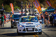 Team cars at the Amgen Tour of California, Santa Monica Mountains, California USA