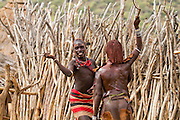 Man with reed whip ready to flog a female member at the Hamar tribe's  'Jumping of the Bull' ceremony. Omo Valley Ethiopia