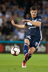 February 23, 2019 - Melbourne, VIC, U.S. - MELBOURNE, VIC - FEBRUARY 23: Melbourne Victory defender James Donachie (17) passes the ball at round 20 of the Hyundai A-League Soccer between Melbourne City FC and Melbourne Victory on February 23, 2019 at Marvel Stadium, VIC. (Photo by Speed Media/Icon Sportswire) (Credit Image: © Speed Media/Icon SMI via ZUMA Press)