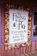 Sign at the Flying Pig Emporium, Dolores, Colorado
