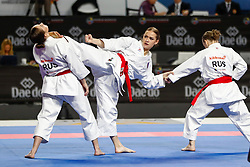 November 11, 2018 - Madrid, Madrid, Spain - Russian Team figth with Turkey Team for bronce medal and the third place of Female Kata Team during the Finals of Karate World Championship celebrates in Wizink Center, Madrid, Spain, on November 11th, 2018. (Credit Image: © AFP7 via ZUMA Wire)