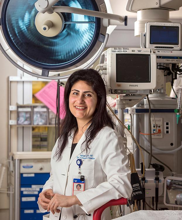 Photography ©Mara Lavitt<br /> Yale University, New Haven<br /> March 23, 2018<br /> <br /> Dr. Basmah Safdar in the Yale New Haven Hospital Emergency Department.