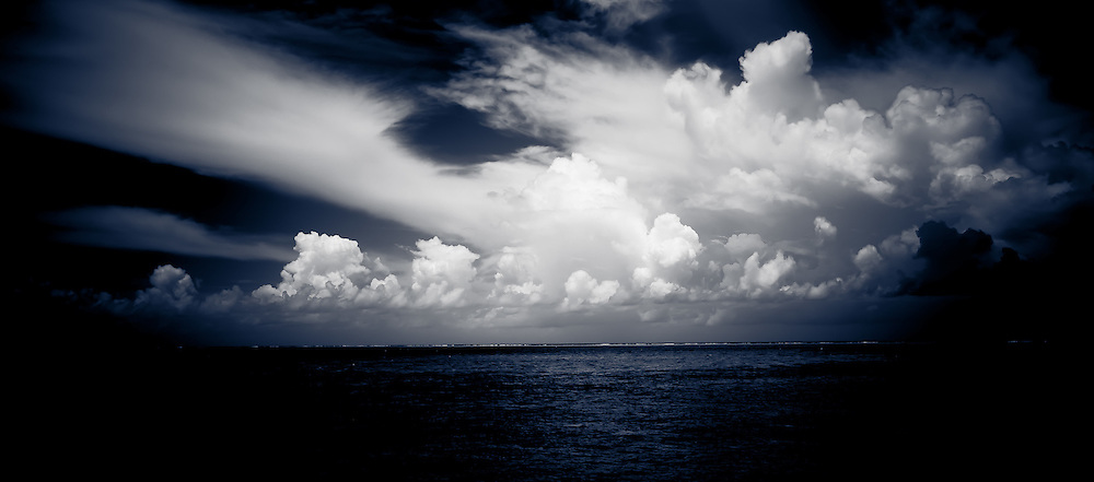 Pacific Ocean Horizon with Sweeping White Clouds, Fiji
