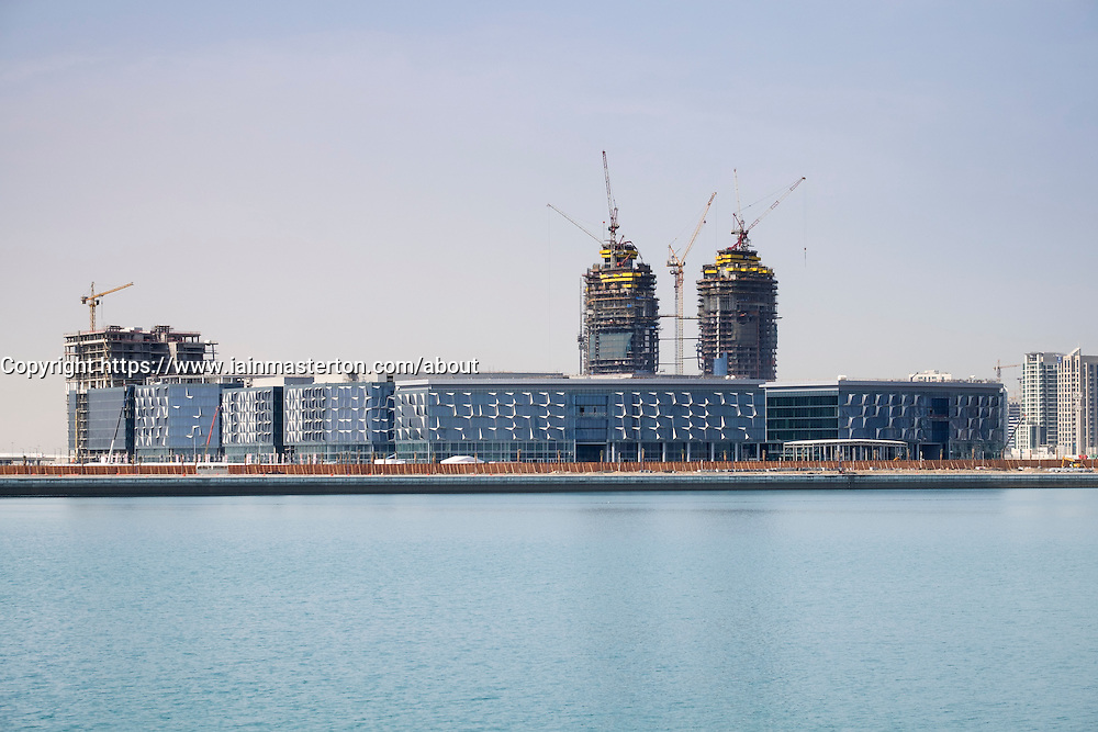 View of new Dubai Design District 9d3) under construction beside The Creek in Dubai United Arab Emirates