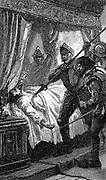 Assassination of Albrecht van Wallenstein (Waldstein) 1583-1634 by Irish and Scottish members of his retinue. Austrian soldier. 19th century illustration.