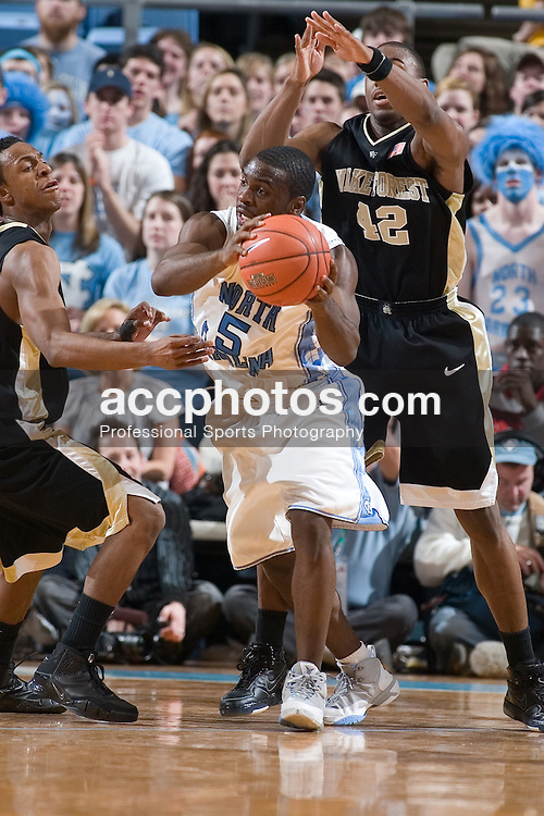10 February 2007: North Carolina Tar Heels guard Ty Lawson (5) during a 104-67 Wake Forest Demon Deacon loss to the North Carolina Tar Heels, in the Dean E. Smith Center in Chapel Hill, NC.
