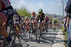 Joëlle Numainville takes on Wolvenberg at the Women's Ronde van Vlaanderen 2017. A 153 km road race on April 2nd 2017, starting and finishing in Oudenaarde, Belgium. (Photo by Sean Robinson/Velofocus)