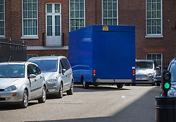 © Licensed to London News Pictures. 12/07/2016. London, UK. A removals van drives in the back of Downing Street. Theresa May will become Prime Minister tomorrow after the last candidate for leadership of the Conservative party stood down. Photo credit: Peter Macdiarmid/LNP