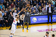 Golden State Warriors guard Nick Young (6) shoots a three pointer against the LA Clippers at Oracle Arena in Oakland, California, on February 22, 2018. (Stan Olszewski/Special to S.F. Examiner)