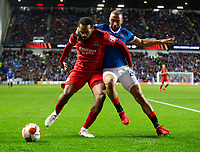 Football - 2021 / 2022  UEFA Europa League - Group A, Round One - Glasgow Rangers vs Lyon - Ibrox stadium - Thursday 16th September 2021<br /> <br /> Kemar Roofe of Rangers vies with Jason Denayer of Olympique Lyonnais<br /> <br /> Credit: COLORSPORT/Bruce White