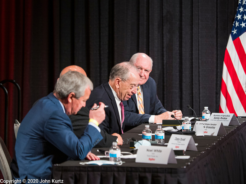 08 MAY 2020 - WEST DES MOINES, IOWA: US Senator CHUCK GRASSLEY, R-IA, (center) takes notes while he and others wait for Vice President Mike Pence. Pence visited the corporate headquarters of Hy-Vee, a regional grocery store chain, to talk about the security of the food supply system and met with religious leaders at a local Presbyterian Church to talk about reopening places of worship at the height of Iowa's COVID-19 pandemic. The Governor of Iowa started reopening businesses in the state even though coronavirus (SAR-CoV-2) infections are continuing to rise. President Trump signed an executive order on April 28 to compel meat packing plants to stay open as a part of critical infrastructure, but in Iowa many plants remain closed. The meat packing industry is the main source of COVID-19 infections in rural parts of Iowa. Iowa has recorded 11,457 cases of  COVID-19 and 243 deaths caused by virus.         PHOTO BY JACK KURTZ