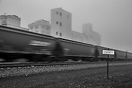 A loaded unit grain train heads west towards a Pacific coast port.