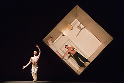 © Licensed to London News Pictures. 01/07/2014. London, England. L-R: Sila Henriksen, Paravaneh Scharafali and Medhi Walerski perform Sehnsucht. Dress rehearsal of the works Sehnsucht (longing) and Schmetterling (butterfly) of Nederlands Dans Theater 1 at Sadler's Wells. The company presents a UK premiere of these two works from 1 to 4 July 2014.  Photo credit: Bettina Strenske/LNP