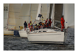 Yachting- The first days racing  of the Bell Lawrie Scottish series 2003 at Gourock.  The wet start looks set to last for the overnight race to Tarbert...Scanne in Class five comes up for the start at Gourock...Pics Marc Turner / PFM
