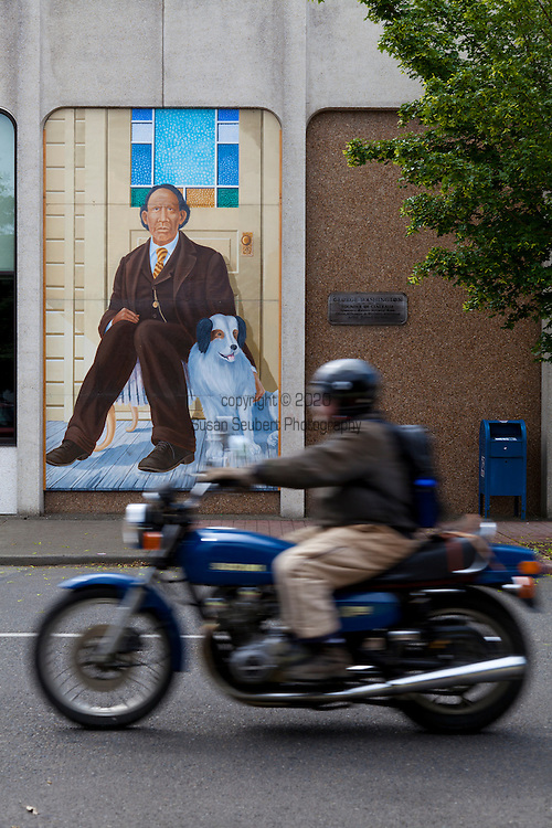 Downtown Centralia, Washington State.  The mural painting of the city's founder, George Washington