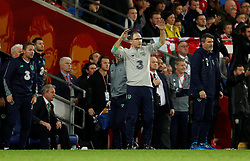 October 9, 2017 - Cardiff, Pays de Galles - Republic of Ireland manager Martin ONeill O Neill and assistant Roy Keane (Credit Image: © Panoramic via ZUMA Press)