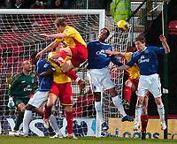 Photo: Ed Godden/Sportsbeat Images.<br /> Watford v Everton. The Barclays Premiership. 24/02/2007.<br /> Everton clear a Watford attack.