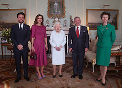 Queen Elizabeth II with (left to right) Crown Prince Hussein of Jordan, Queen Rania of Jordan, King Abdullah II of Jordan and the Princess Royal, during a private audience at Buckingham Palace, London.