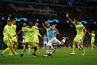 Manchester City's Sergio Aguero shoots at goal<br /> <br /> Football - 2019 / 2020 UEFA Champions League - Champs Lge Grp C: Man City-D Zagreb<br /> <br /> , at Etihad Stadium<br /> <br /> Colorsport / Terry Donnelly