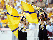 Gerorlin Johnson performs with the LSU colorguard during halftime.  photo by Crystal LoGiudice