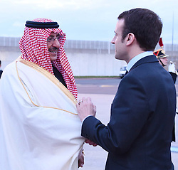 French Economy Minister Emmanuel Macron sees off Saudi Crown Prince Mohammed Bin Nayef Al Saud as he leaves France at Orly airport near Paris, France on March 4, 2016. Photo by Balkis Press/ABACAPRESS.COM