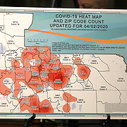 "The Orange County ""Heat Map"" shows the spreading Coronavirus (Covid-19) hotspots in Orange County at the Orange County Administration Center on Friday, April 3, 2020 in Orlando, Florida. The combined total of positive cases, as well as those persons who are being monitored or under investigation as potential case are listed by zip code. (Alex Menendez via AP)"