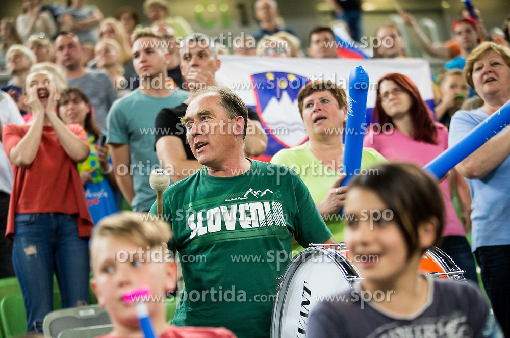 Supporters of Slovenia during volleyball match between National teams of Slovenia and Portugal in 2nd Round of 2018 FIVB Volleyball Men's World Championship qualification, on May 26, 2017 in Arena Stozice, Ljubljana, Slovenia. Photo by Vid Ponikvar / Sportida