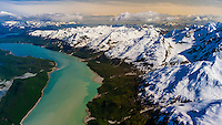 Aerial view over Glacier Bay National Park, Alaska USA.