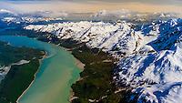 Aerial view over Glacier Bay National Park, Alaska USA.