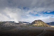 View of Mount Bromo over the volcanic plain, The Sea of Sand, Mount Bromo, Tengger massif, East Java, Indonesia, Southeast Asia