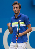 Tennis - 2017 Aegon Championships [Queen's Club Championship] - Day Four, Thursday <br /> <br /> Men's Singles: Round of 16 - Daniil MEDVEDEV (RUS) Vs Thanasi KOKKINAKIS (AUS)<br /> <br /> Danil Medvedev (RUS) celebrates his victory at Queens Club<br /> <br /> COLORSPORT/DANIEL BEARHAM