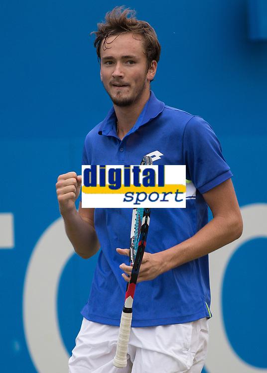 Tennis - 2017 Aegon Championships [Queen's Club Championship] - Day Four, Thursday <br /> <br /> Men's Singles: Round of 16 - Daniil MEDVEDEV (RUS) Vs Thanasi KOKKINAKIS (AUS)<br /> <br /> Danil Medvedev (RUS) celebrates his victory at Queens Club<br /> <br /> COLORSPORT/DANIEL BEARHAM
