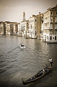 Evening light on the Grand Canal and gondola, Venice, Veneto, Italy