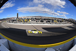 March 4, 2018 - Las Vegas, NV, U.S. - LAS VEGAS, NV - MARCH 04: Ryan Blaney (12) Team Penske Ford Fusion drives into turn 2 during the Monster Energy NASCAR Cup Series Pennzoil 400 on March 04, 2018 at Las Vegas Motor Speedway in Las Vegas, NV. (Photo by Chris Williams/Icon Sportswire) (Credit Image: © Chris Williams/Icon SMI via ZUMA Press)