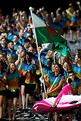Wales flag bearer Jazz Carlin leads the team out during the Opening Ceremony for the 2018 Commonwealth Games at the Carrara Stadium in the Gold Coast, Australia.