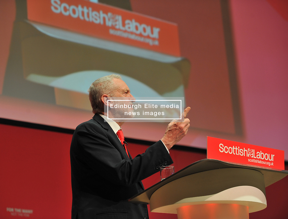 Labour leader Jeremy Corbyn delivers his keynote speech at the Scottish Labour conference at the Caird Hall in Dundee.<br /> <br /> © Dave Johnston / EEm