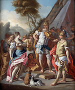 'Sisygambus, mother of Darius III, mistakes Hephistion  (Hephaestion) for Alexander the Great'.  After Alexander's defeat of the Persians at Issus, 333 BC, Darius's womenfolk were taken to Alexander's tent.  Sisygambus speaks to Hephistion as the most imposing figure in the group.  Alexander, known to be of short stature, is the figure on the left. Francesco da Mura (1696-1782) Italian painter.  Oil on canvas. Private collection.