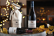 Lange Winery Holiday Photo Shoot to promote the red pinot noir called Mistletoe