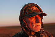 Timmy Stein duck hunting at dawn hunkered down for camouflage on a hilltop south-east of Minot, North Dakota, United States. The duck hunters travel in the dark to the place they suspect will be the morning feeding roost for ducks. As the sun comes up they have prepared decoys in the field and hide behind some undergrowth in their camouflage clothing. As the sun rises soem ducks take to the air for their morning feed. As they draw near the hunters make female and feeding duck calls to attract the flying birds towards the decoys and to within shooting range. The moment they are close enough the hunters quickly take aim anf fire their shotguns; some of the ducks fall to the ground. A great deal of work and effort goes into this type of shooting, with the result being a few fine Mallards for the pot.